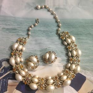 Vintage Signed BSK Necklace Clip On Earring Set